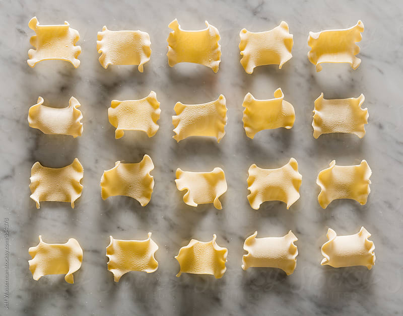 Grouping of Italian Lasagnacce Rotte Dry Pasta by Jeff Wasserman for Stocksy United
