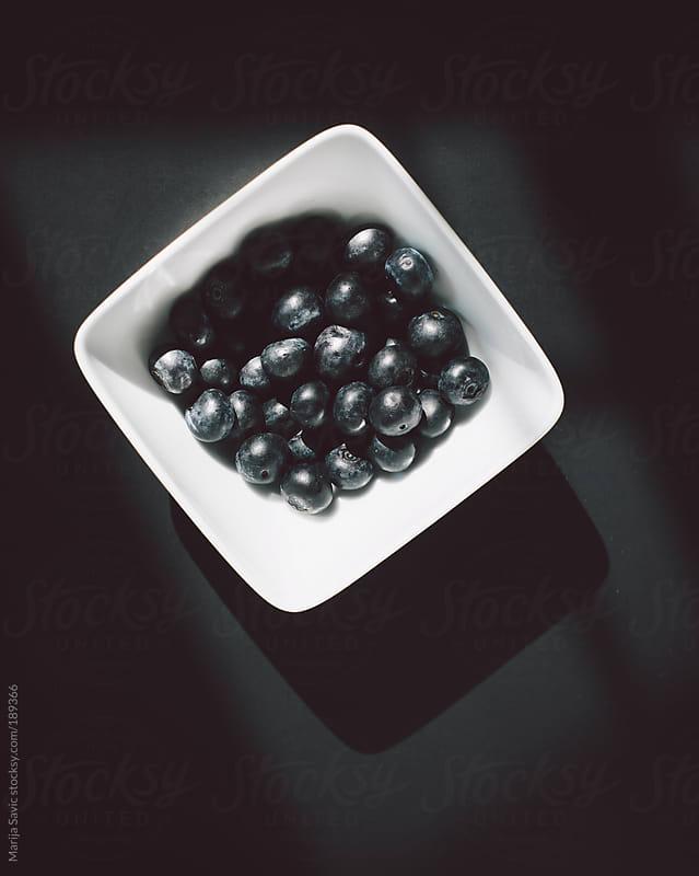 Blueberries in Bowl on Dark Background by Marija Savic for Stocksy United