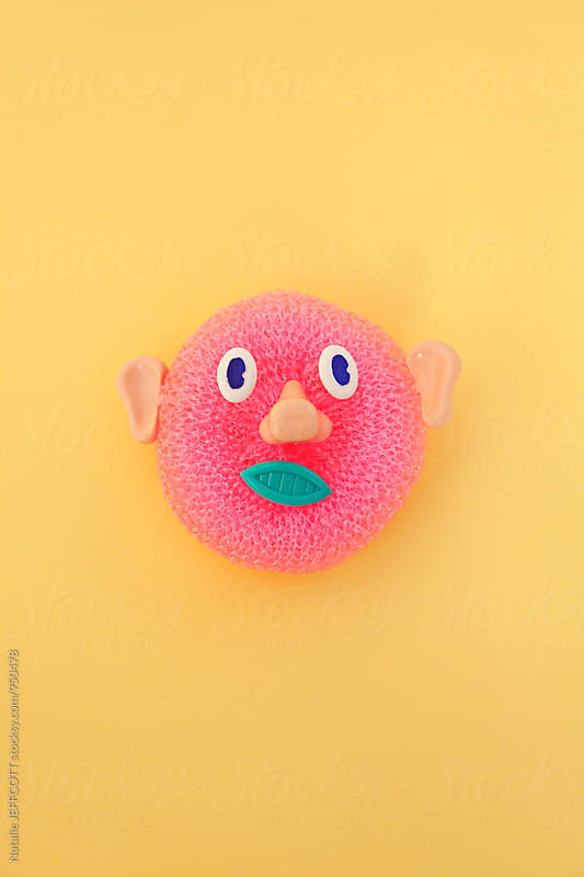 Creating faces from household cleaning equipment / products by Natalie JEFFCOTT for Stocksy United