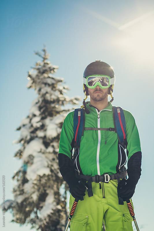 Portrait of a freerider in austian winter landscape by Leander Nardin for Stocksy United