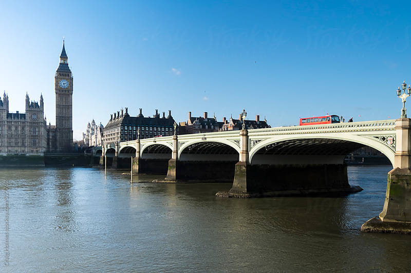 The House of Commons and Westminster Bridge, London by Craig Holmes for Stocksy United