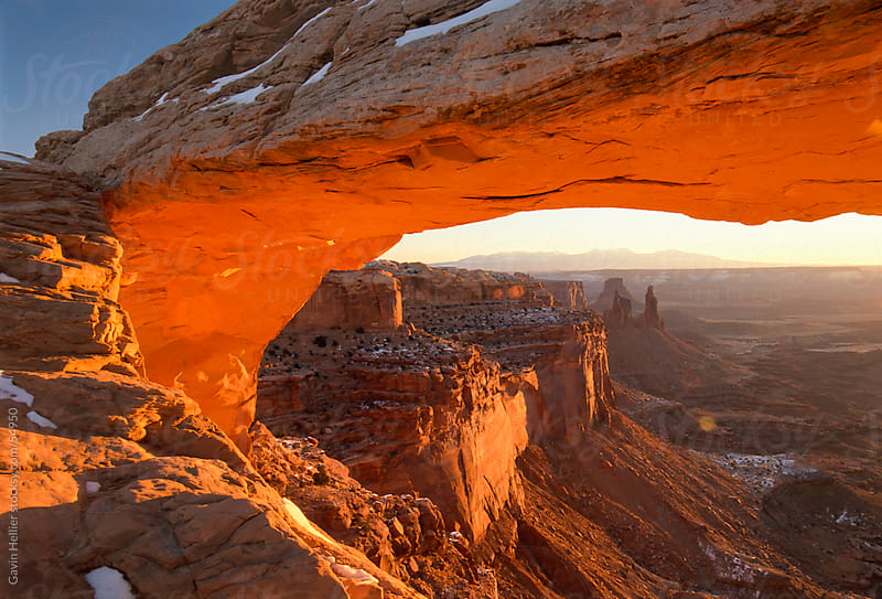 USA, Utah, Canyonlands National Park, Mesa Arch, sunrise by Gavin Hellier for Stocksy United