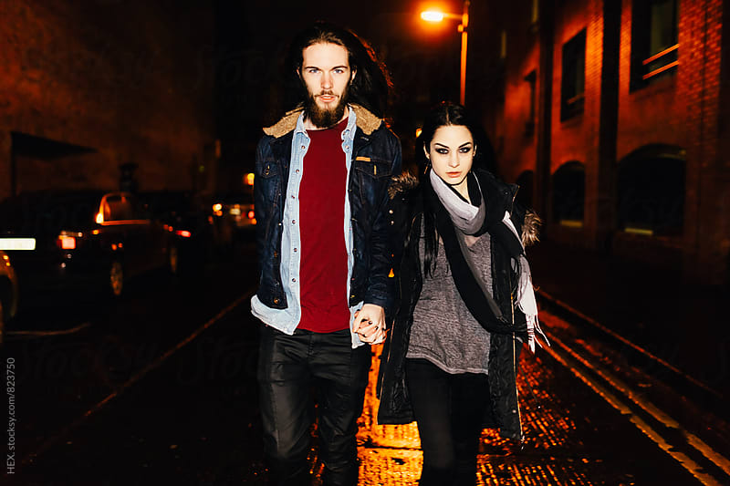 Young Couple Portrait in the City Traffic by HEX. for Stocksy United