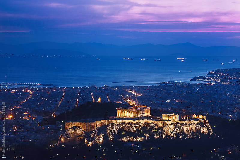 The Acropolis in Athens, at Twilight by Helen Sotiriadis for Stocksy United