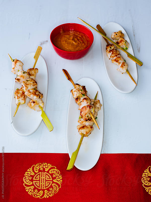 Chinese food, chicken kebabs by J.R. PHOTOGRAPHY for Stocksy United