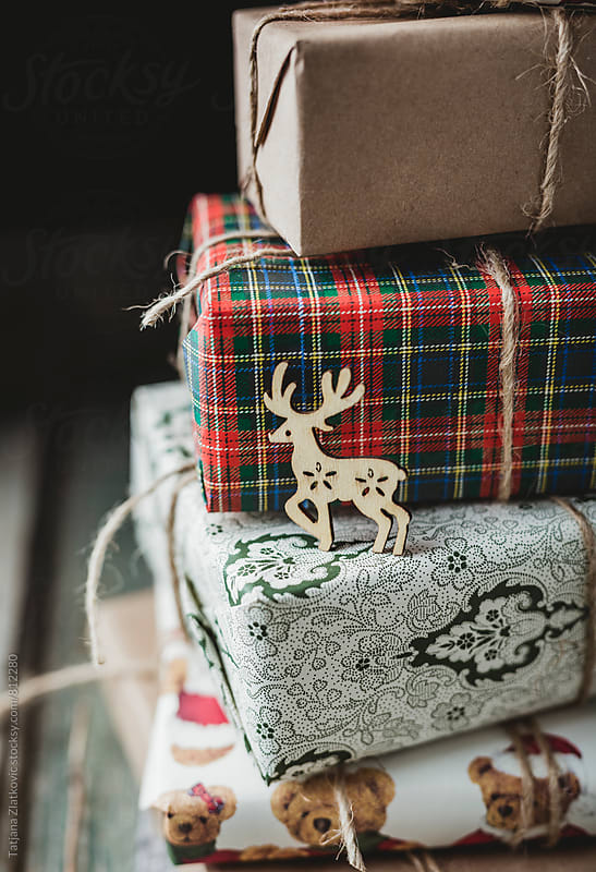Deer on a Christmas gifts by Tatjana Zlatkovic for Stocksy United
