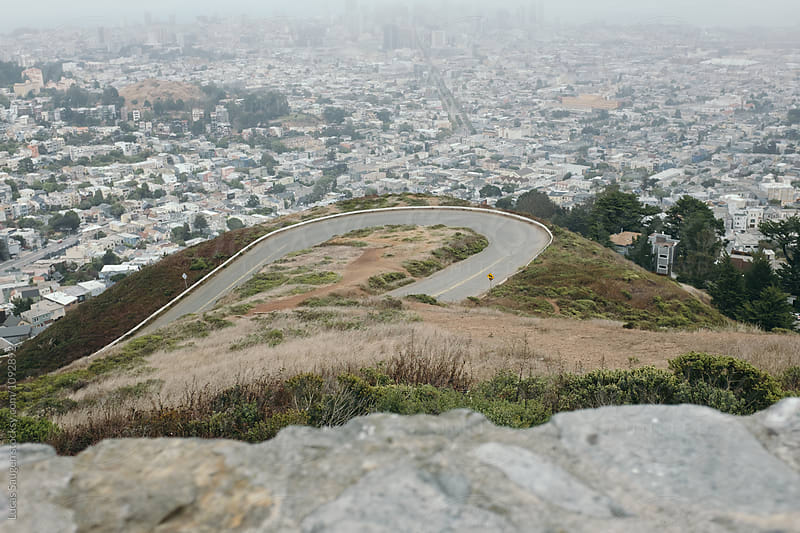 Foggy San Francisco with loop road from viewpoint by Lucas Saugen for Stocksy United