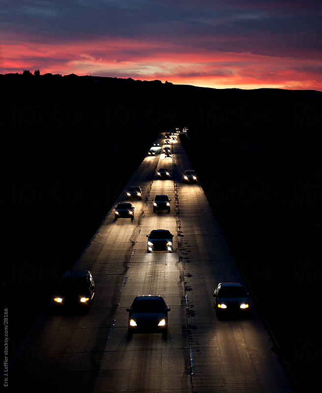 Cars Commuting on Highway by Eric James Leffler for Stocksy United