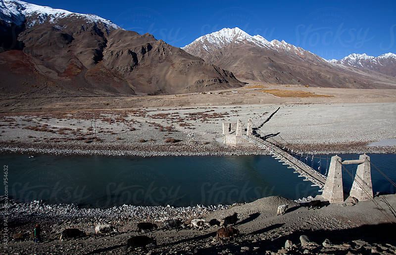 A cemented bridge over mountain river in Zanskar Valley,Ladakh by PARTHA PAL for Stocksy United