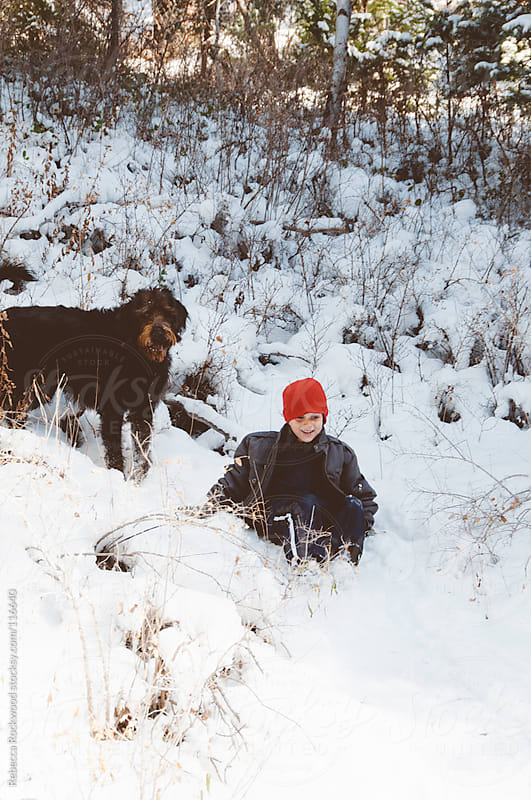 playing in the snow by Rebecca Rockwood for Stocksy United