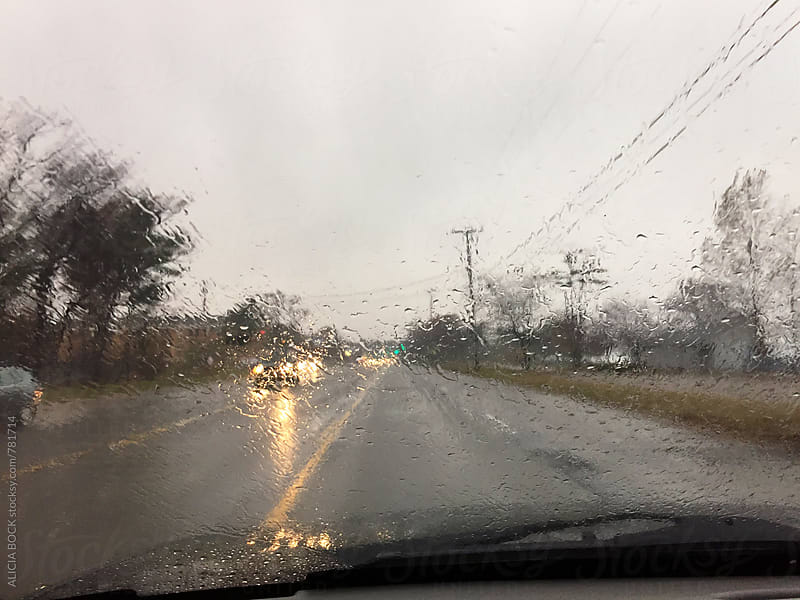A Rain Filled Windshield On A Stormy Afternoon by ALICIA BOCK for Stocksy United