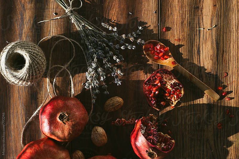 Pomegranate and Dried Flowers in the Shadow by Mosuno for Stocksy United