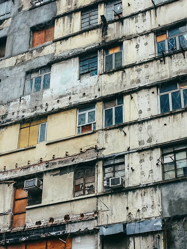 Shabby Kowloon Hong Kong Building Exterior by VISUALSPECTRUM for Stocksy United