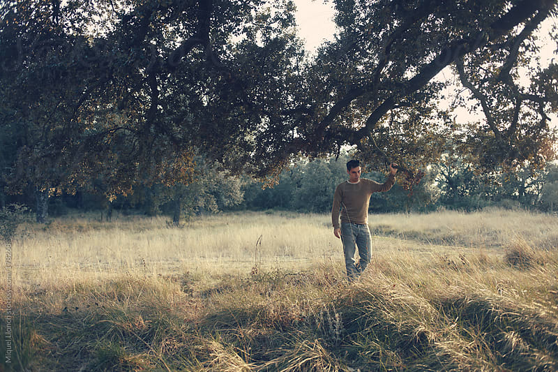Young man and tree by Miquel Llonch for Stocksy United