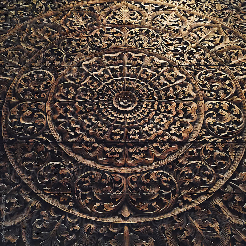 Wooden hand carved mandala by ZOA PHOTO for Stocksy United