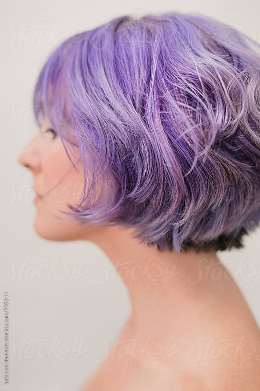 Lavender Haired Woman Portrait by suzanne clements for Stocksy United