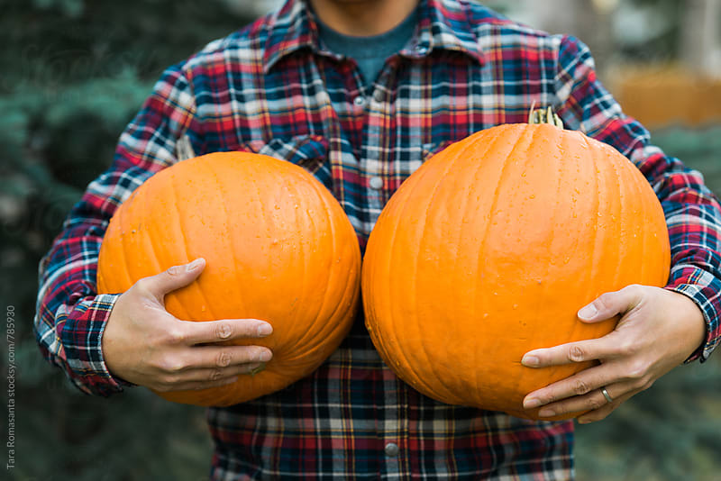 Anonymous man carrying two pumpkins by Tara Romasanta for Stocksy United