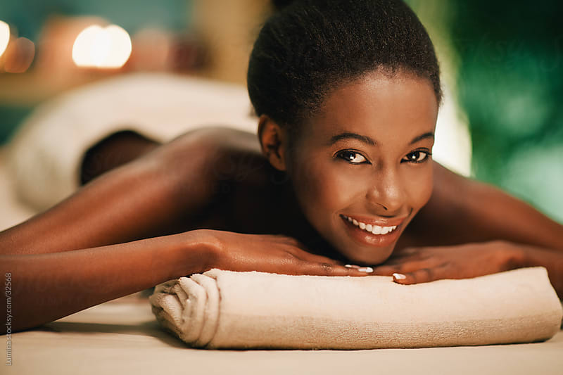 Smiling Woman at a Spa Salon by Lumina for Stocksy United