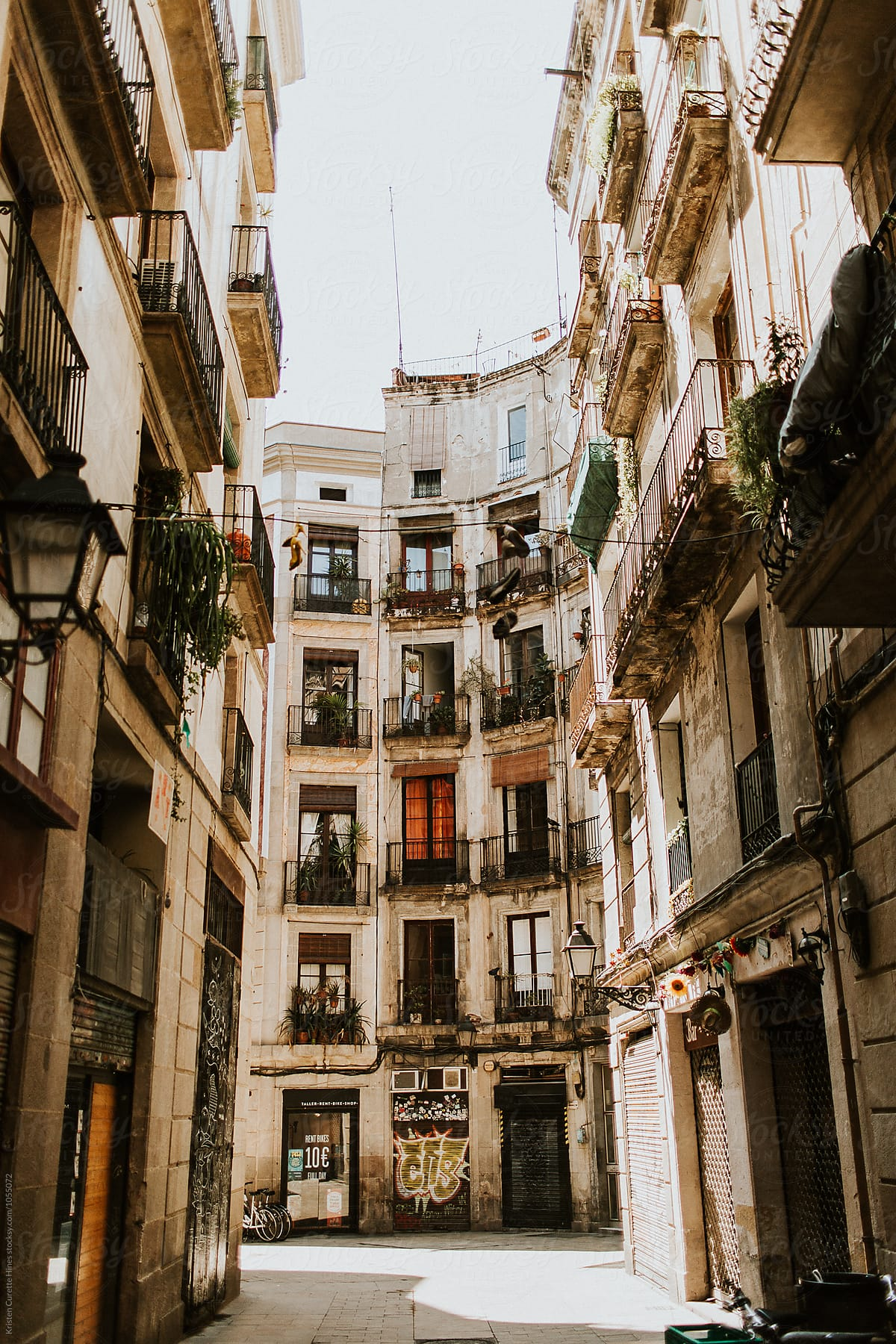 Old streets of the Gothic Quarter of Barcelona, Spain by ...