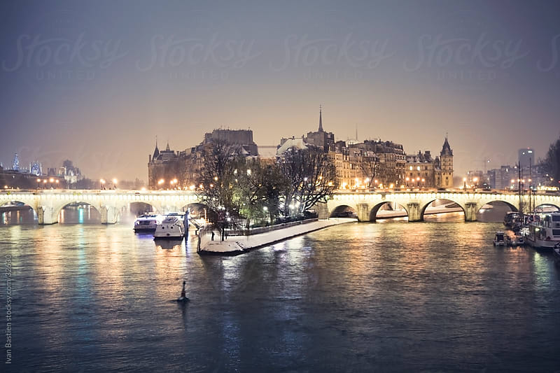 Ile de la Cite at night by Ivan Bastien for Stocksy United