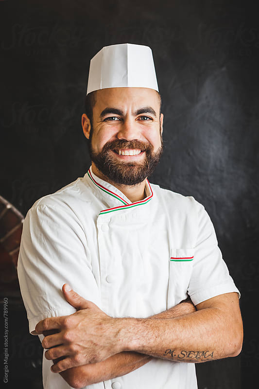 Smiling Chef Portrait in Italian Pizzeria by Giorgio Magini for Stocksy United
