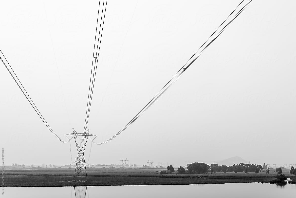 Transmission Tower And Power Lines Overhead By Tara Romasanta Photography Stocksy United