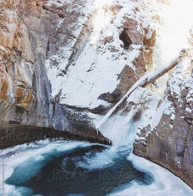 Frozen Johnston Canyon Waterfalls, Alberta by Luca Pierro for Stocksy United