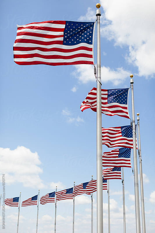 American flags waving in Washington city. by BONNINSTUDIO for Stocksy United
