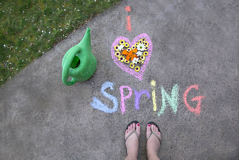 Chalk message saying I love Spring by Carolyn Lagattuta for Stocksy United