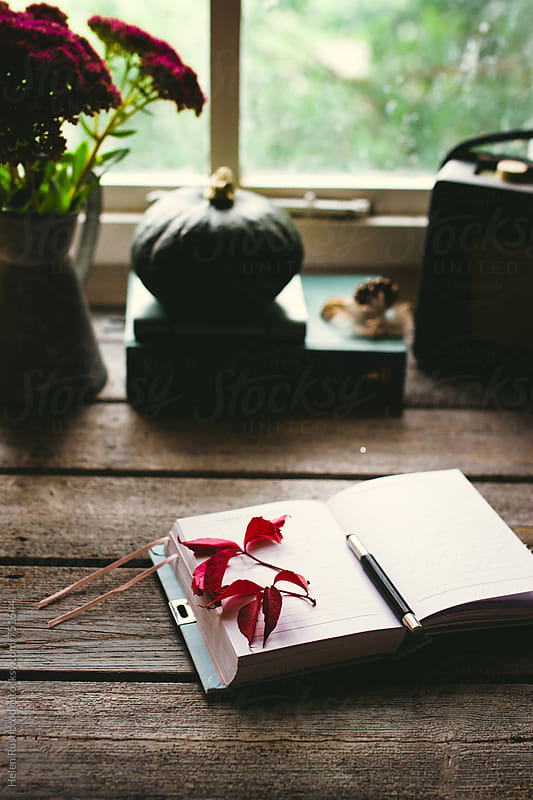 open journal on an autumnal desk. by Helen Rushbrook for Stocksy United