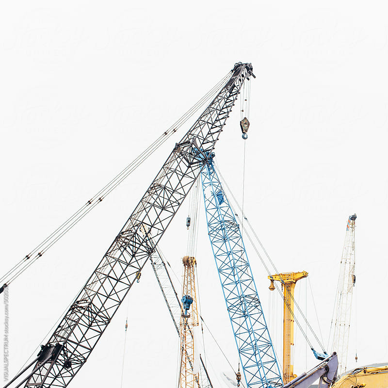 Cranes on Construction Site by VISUALSPECTRUM for Stocksy United