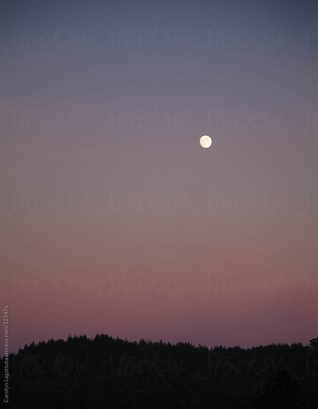 The moon rising over the skyline in the early evening by Carolyn Lagattuta for Stocksy United