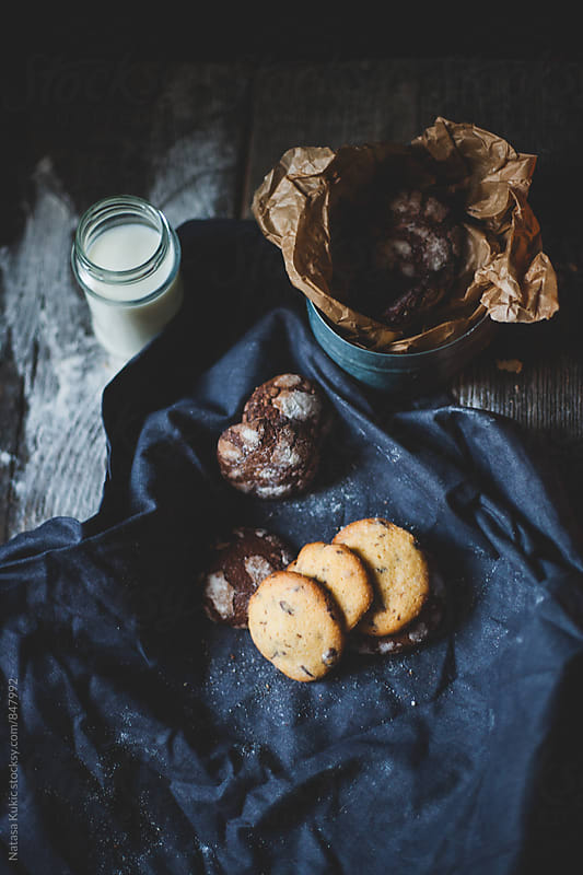 Chocolate chip and chocolate crinkle cookies still life by Natasa Kukic for Stocksy United