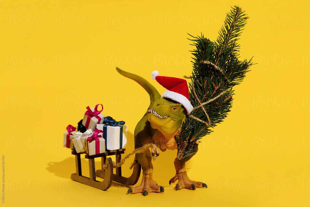 Toy Dinosaur With Christmas Gifts And Tree | Stocksy United