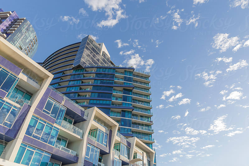Sky and matching high rise balconies by Ben Ryan for Stocksy United