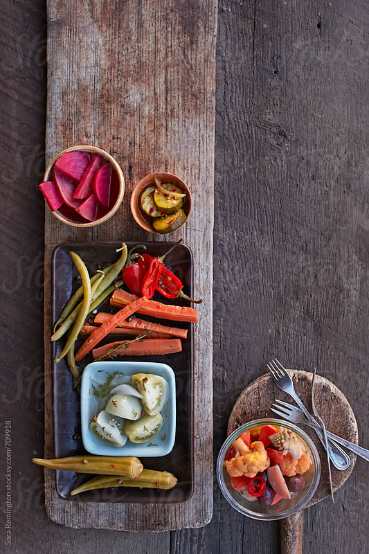 Pickled Vegetables on Board by Sara Remington for Stocksy United