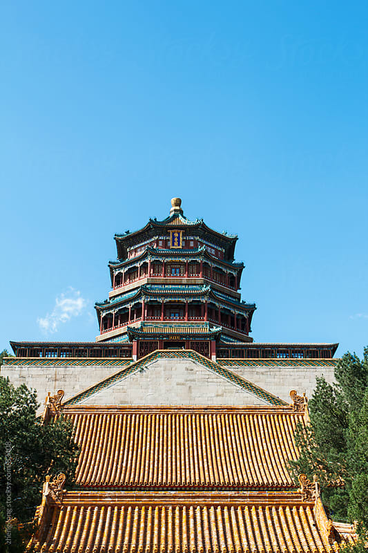 Buddhism pagodathe in Summer Palace, Beijing by zheng long for Stocksy United