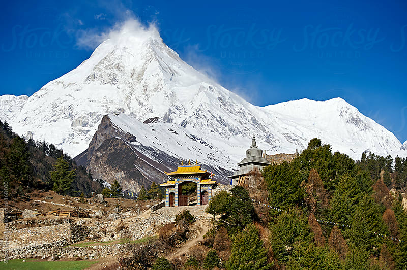 Mountain monastery on Himalaya trekking by Sasha Evory for Stocksy United