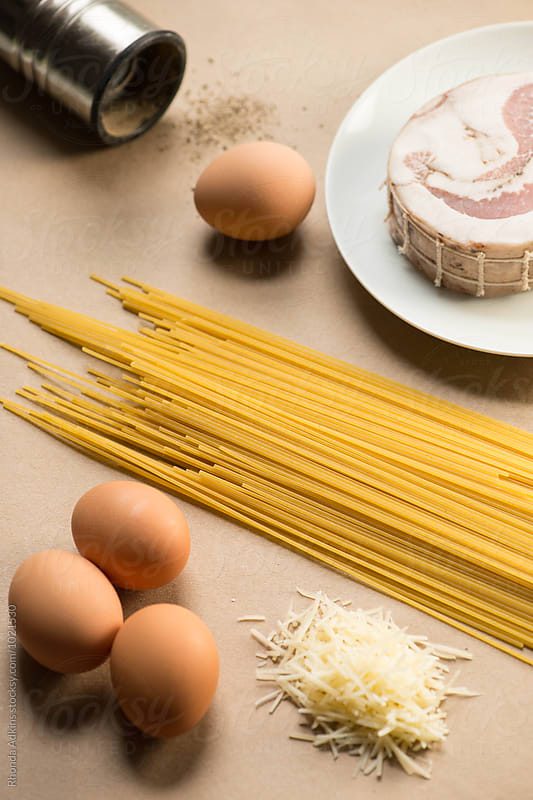 Ingredients for Spaghetti alla cabonara by Rhonda Adkins for Stocksy United