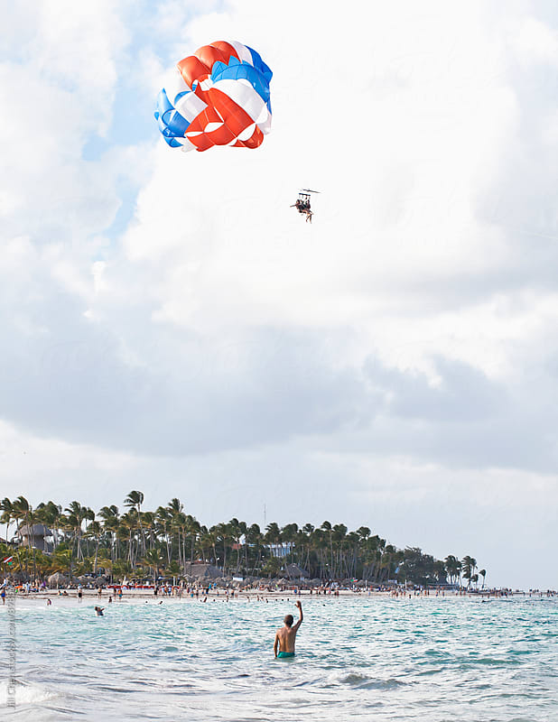 Parasailing in Punta Cana by Jill Chen for Stocksy United
