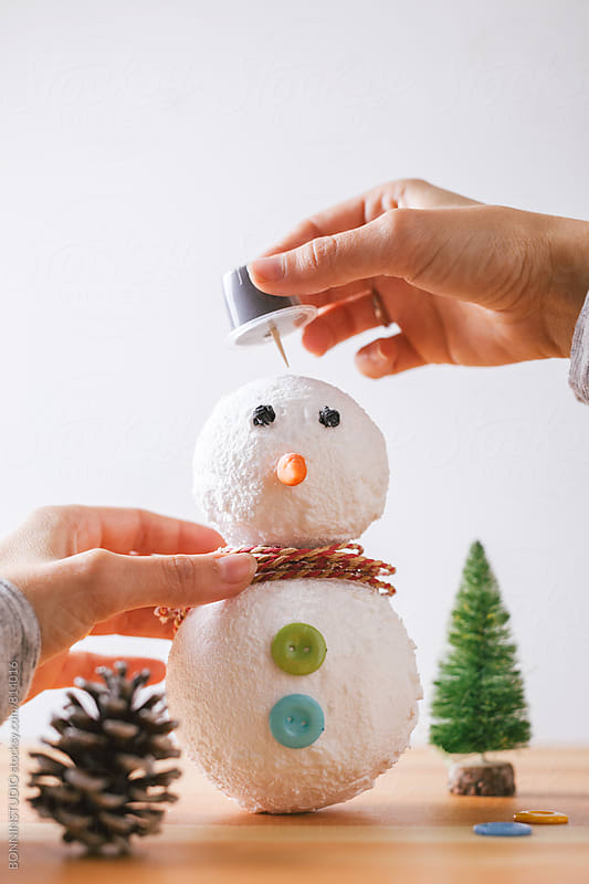 Snowman diy step by step tutorial. Step 4. by BONNINSTUDIO for Stocksy United
