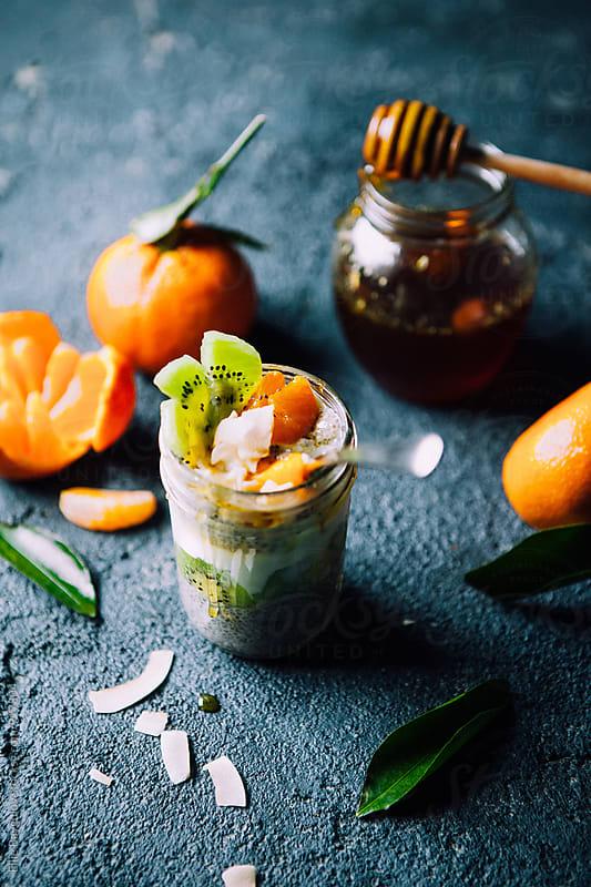 Chia pudding parfait by Ellie Baygulov for Stocksy United