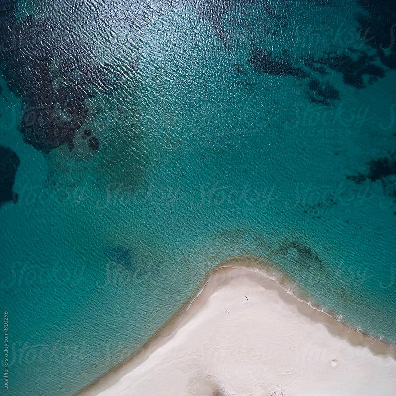 Aerial view of south Sardinian coast, Tuerredda beach by Luca Pierro for Stocksy United