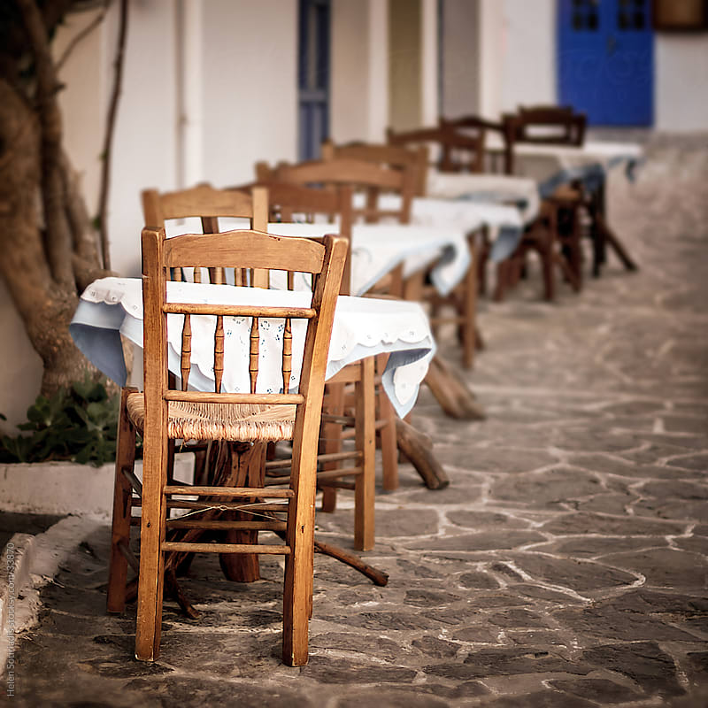 Tables at Outdoor Restaurant by Helen Sotiriadis for Stocksy United