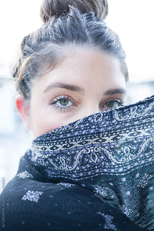 Portrait of beautiful woman covering face. by RZ CREATIVE for Stocksy United