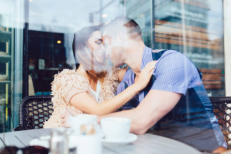 Couple Dating in a Coffee Shop by Mattia Pelizzari for Stocksy United