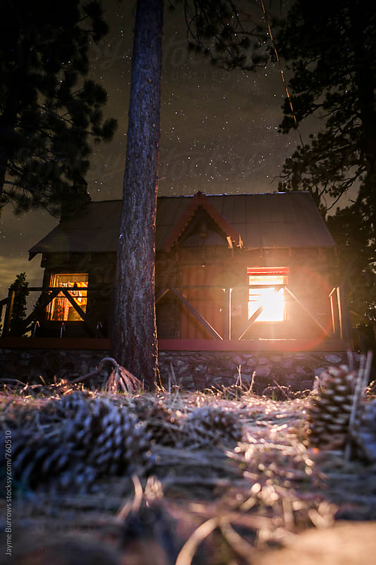 Log Cabin at Night by Jayme Burrows for Stocksy United