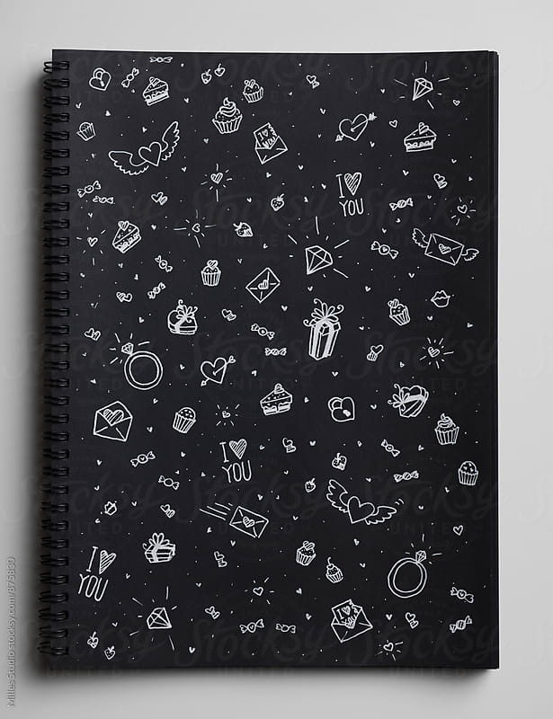 Sketchbook with romantic symbols by Milles Studio for Stocksy United