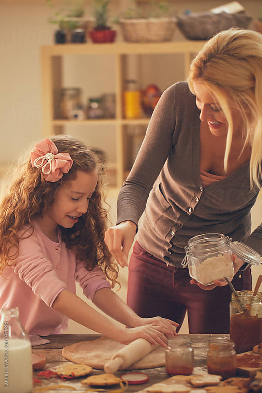 Mother and Daughter Making Cookies by Lumina for Stocksy United