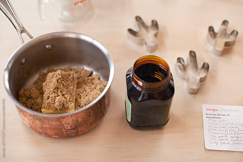Getting ingredients ready for baking gingerbread cookies by Natalie JEFFCOTT for Stocksy United